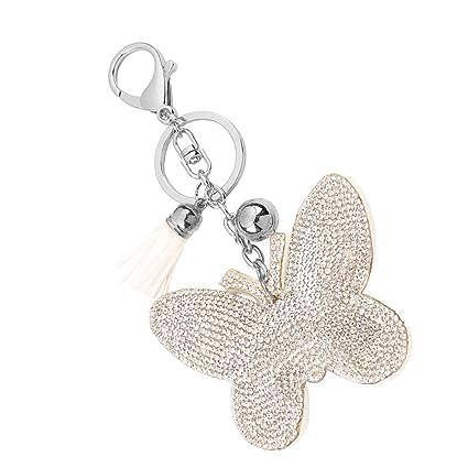Llavero Colgante Joya Diamantes de Imitación Forma de Mariposa Decoración Regalo - Blanco