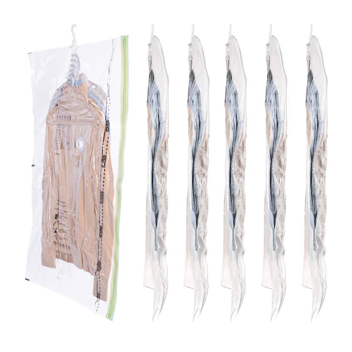 Hi Storage Hanging Vacuum Storage 6 Pack Space Saver Bags (L Size 41.3 x 27.6 inches) 5 Cascading Hanger, Garment Protect Save 80% Storage Space Closet Organizer for Any Clothes by Hi Storage