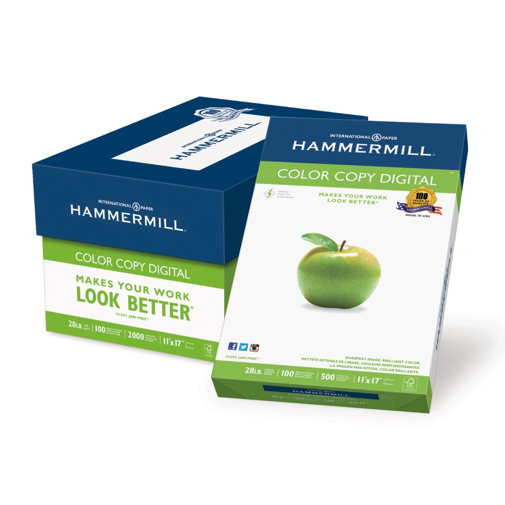 Hammermill Paper, Color Copy Digital, 28lb, 11 x 17, Ledger, 100 Bright, 2000 Sheets / 4 Ream Case (102541C), Made In The USA