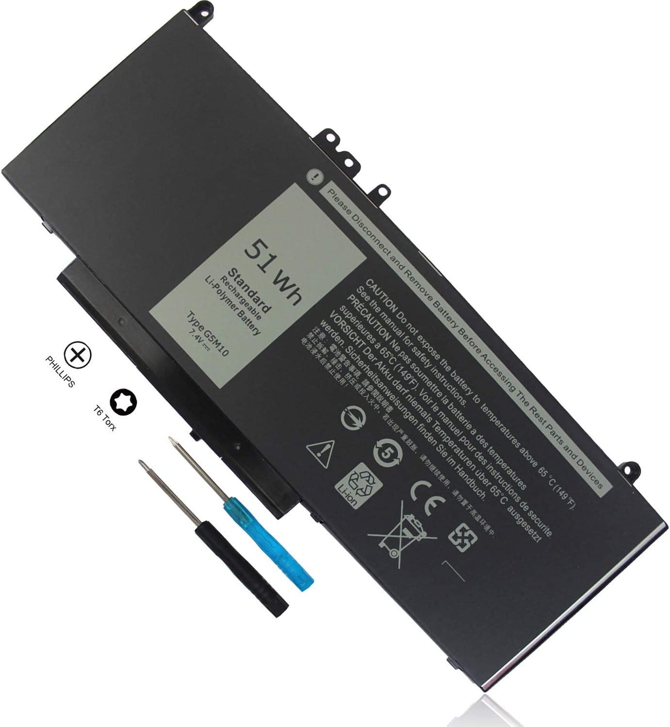 7.4V 51Wh Type G5M10 Laptop Battery Compatible with Dell Latitude E5450 E5550 E5250 15.6 inch 8V5GX R9XM9 WYJC2 1KY05 080-854-0066 0WYJC2 451-BBLN Standard Rechargeable 4-Cell Li-Polymer Battery New