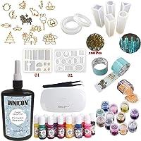 INNICON 250g Kit de decoración de resina epoxi cristalina clara 9 Moldes de silicona 12 Accesorios Brilla 13 pigmentos Mini UV/LED pinzas de lámpara para bricolaje Joyería Kit de inicio