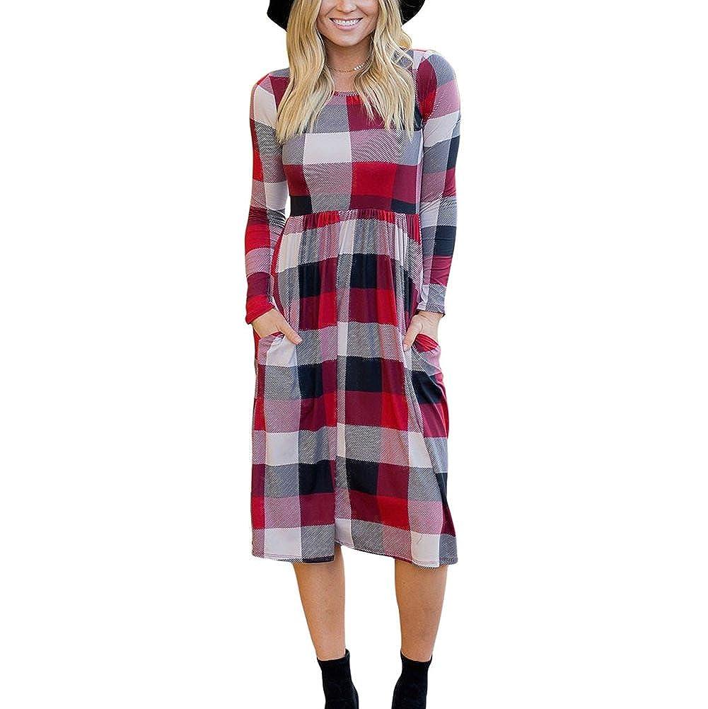 Mujer Vestidos Casual Midi Vestido Largo Pullover Comprobado Vestido Largo Manga Sayo Jersey Vestidos Dress Kootk: Amazon.es: Ropa y accesorios