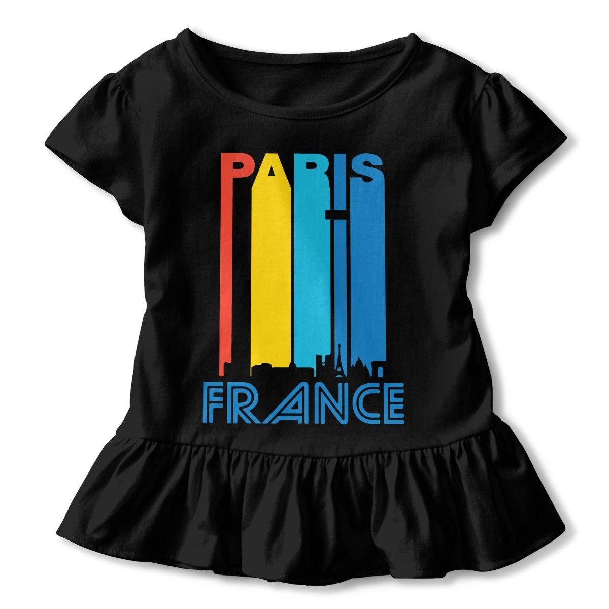 Retro 1970s Paris France Cityscape Downtown Skyline Kids Girls Short Sleeve T Shirts Ruffles Shirt Tee Jersey for 2-6T
