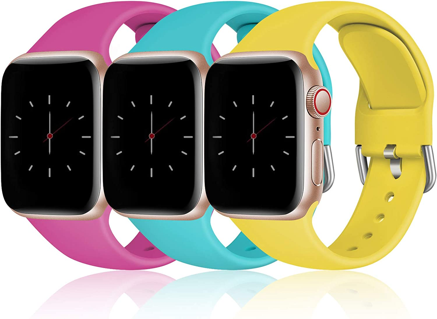 Cousper Compatible with Apple Watch Band 40mm 38mm for Women Men, Soft Sports Silicone Bands for iWatch SE & Series 6 5 4 3 2 1, 3 Pack