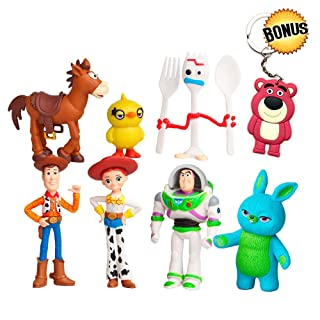 YFTTW Toy Story Toys Action Figures with Woody, Buzz and Rex - Premium Animated Collection with Keychain Included - Fun Party Supplies for Toddlers