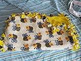 Medium Hand-Tied Fleece Pet Blanket (Bees)