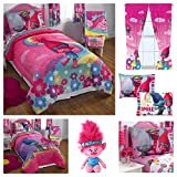 Trolls Kids Comforter Sheets Set with Poppy Plush Pillow Buddy & Window Curtain Panels - Twin