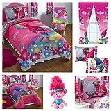 Trolls Kids Comforter Sheets Set with Poppy Plush Pillow Buddy & Window Curtain Panels - Twin