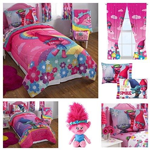 Trolls Kids Comforter Sheets Set with Poppy Plush Pillow Buddy & Window Curtain Panels - Twin by DreamWorks