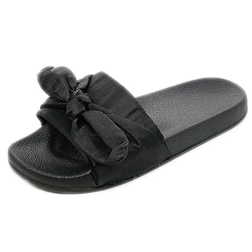 30af83979 Summer Women Bow Slippers Silk Fabric Cute Bowknot Slides Flat Non Slip Beach  Sandals Female Indoor