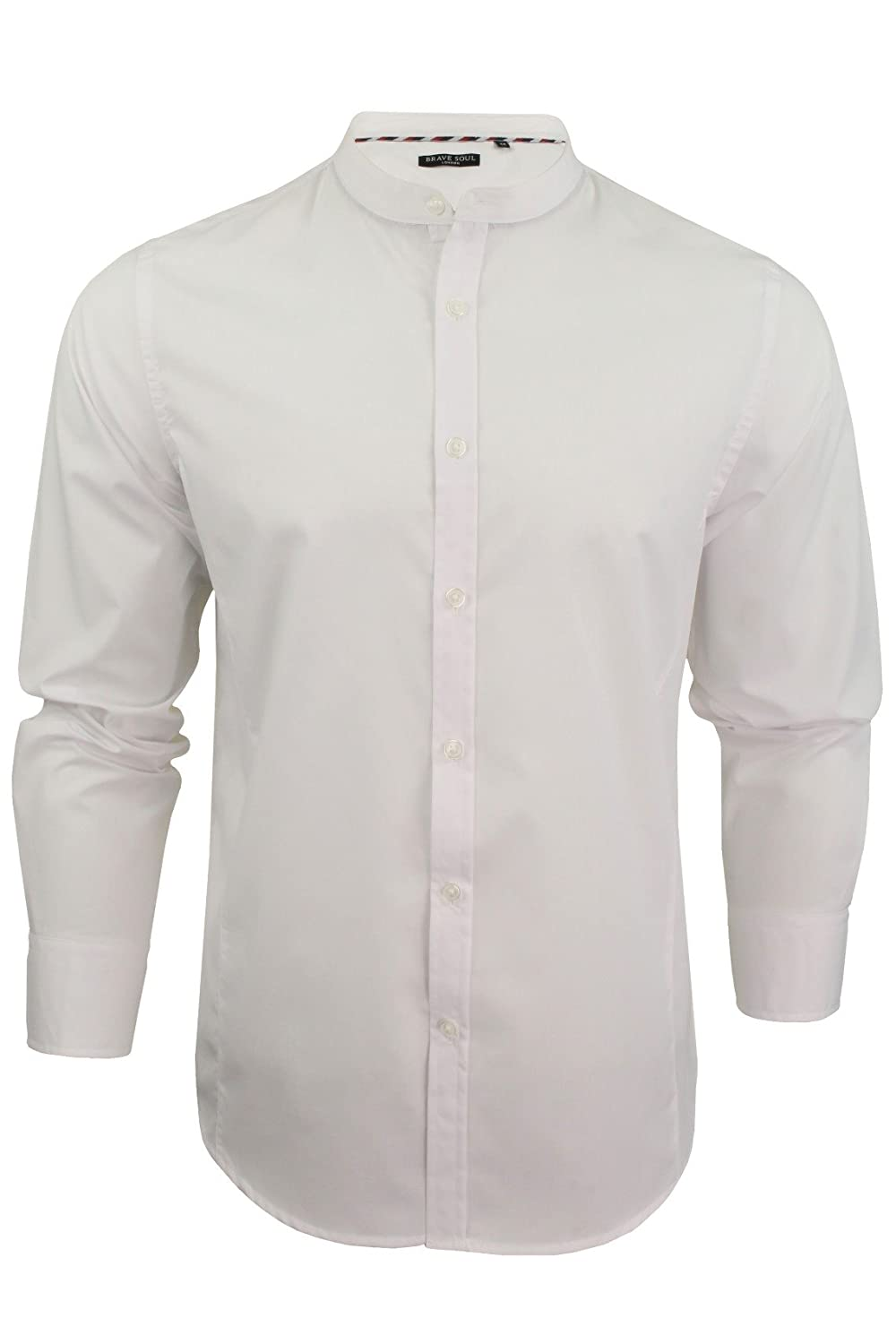 1920s Mens Shirts and Collars History Brave Soul Mens Plain Shirts Long Sleeved Grandad Collar Button Fashion Casual £14.99 AT vintagedancer.com
