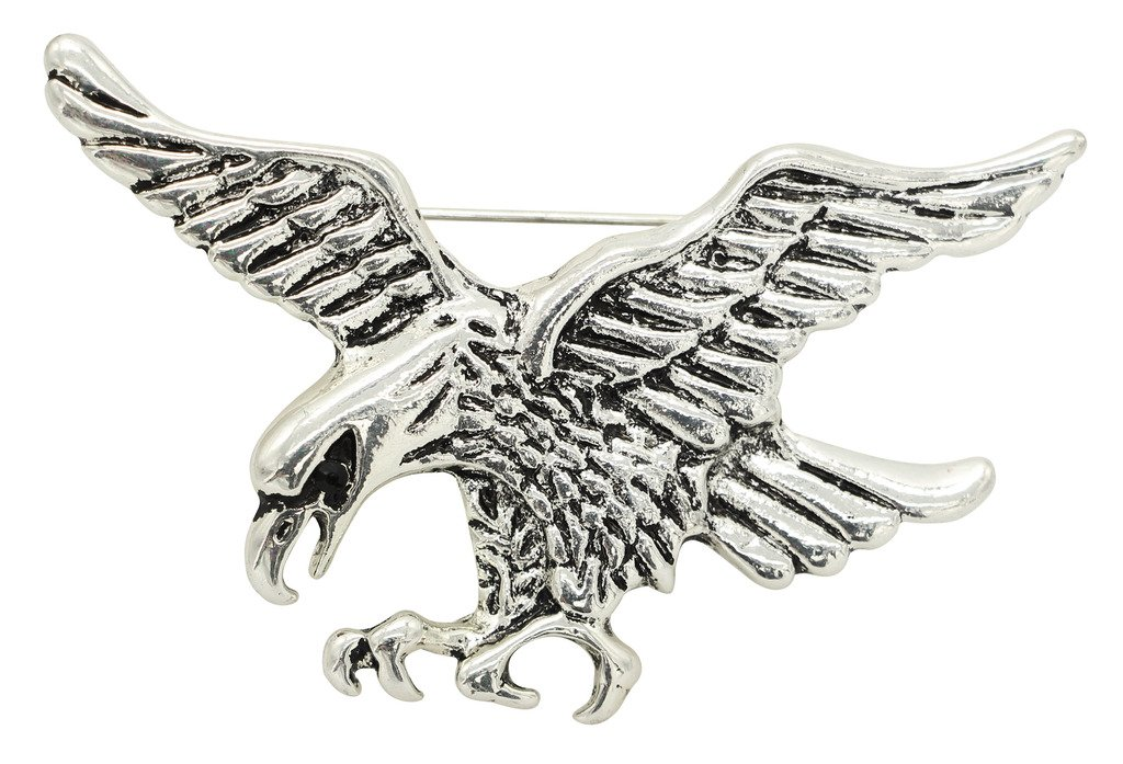 KristLand Metal Animal Elephant Eagle Bird Rhinestones Cool Vintage Brooches Pin for Daily Wear Bird Silver Color