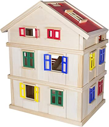 Alta 75cm Doll Mansion casa delle Bambole in Legno con mobili e Bambole Incluse con Scale e 24 Accessori Calma Dragon Dollhouse TNWX-1269 3 Piani di Bambole