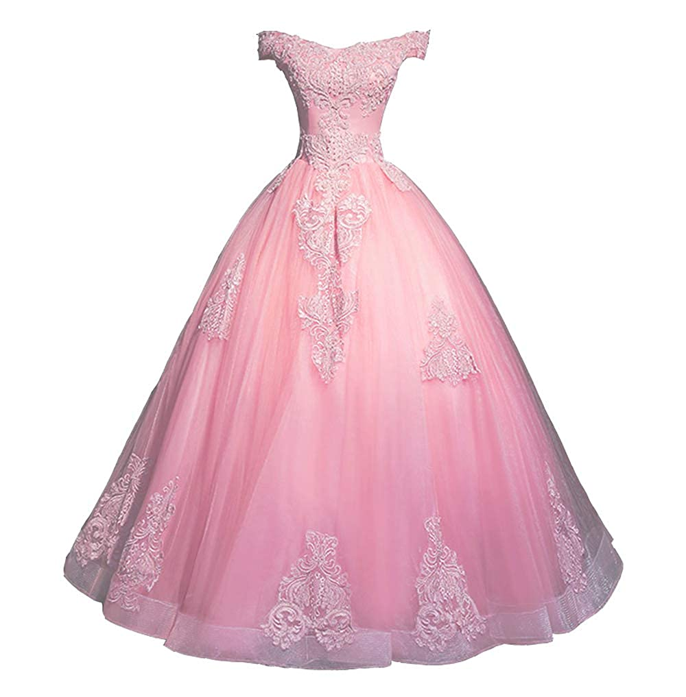 Pink FTBY Off Shoulder Prom Dress Appliques lace Ball Gowns Quinceanera Dresses Tulle Sweet 16