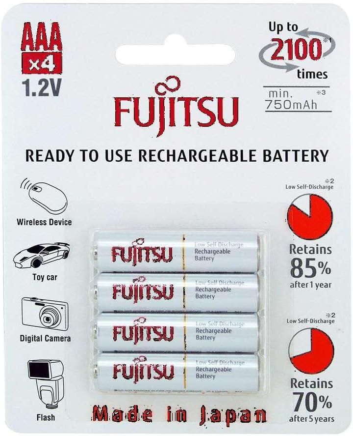 Made in Japan Min. 750mAh 4 Fujitsu HR4UTC AAA Ready-to-use 2,100 times rechargeable batteries NiMH 1.2V 800mAh