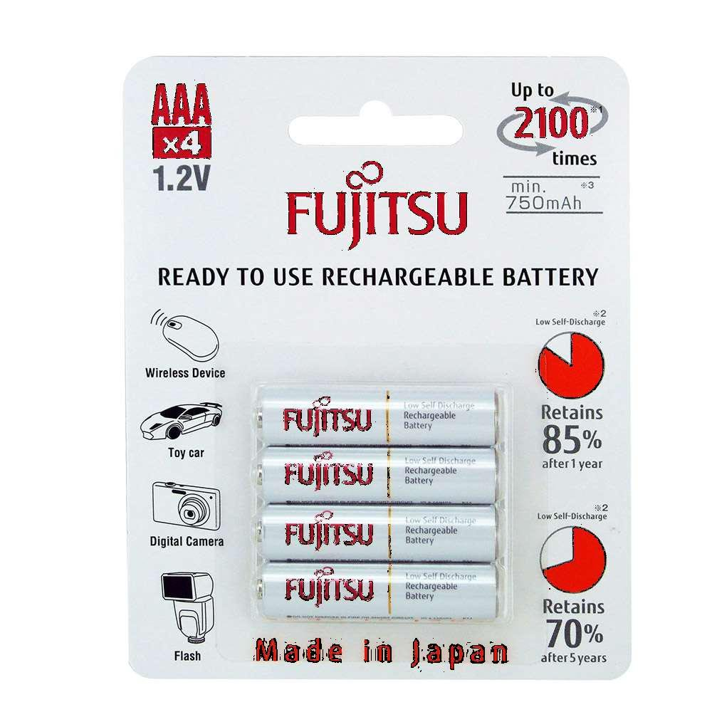 4 Fujitsu HR4UTC AAA Ready-to-use 2,100 Times Rechargeable Batteries NiMH 1.2V 800mAh (Min. 750mAh) Made in Japan