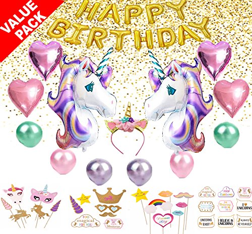 Mils'Toys Value Pack Of Unicorn Birthday Party Supplies For Girls | Party Decorations Set w/ Large Unicorn Balloons, Happy Birthday Balloon, Unicorn Headband and 30 pcs Photo Booth (Girls Magical Mermaid Wig)