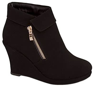 Women's Ankle Boots Wedge Heel Platform Zip Up Fashion Booties Black Shoes