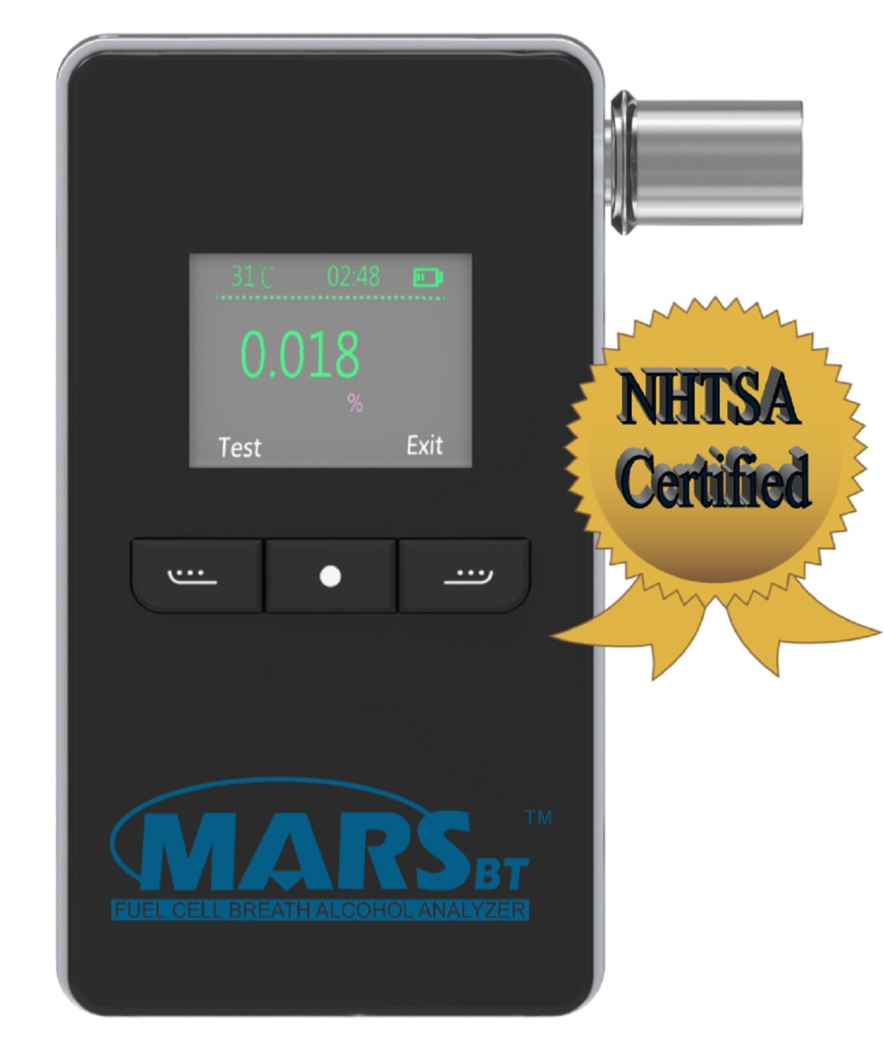 Mars BT Portable Alcohol Breath Tester w/Bluetooth- Professional Grade- Accurately Measures Breath Alcohol Content - Personal Breath Alcohol Tester Displays Accurate BAC Results in Seconds by PAS Systems International
