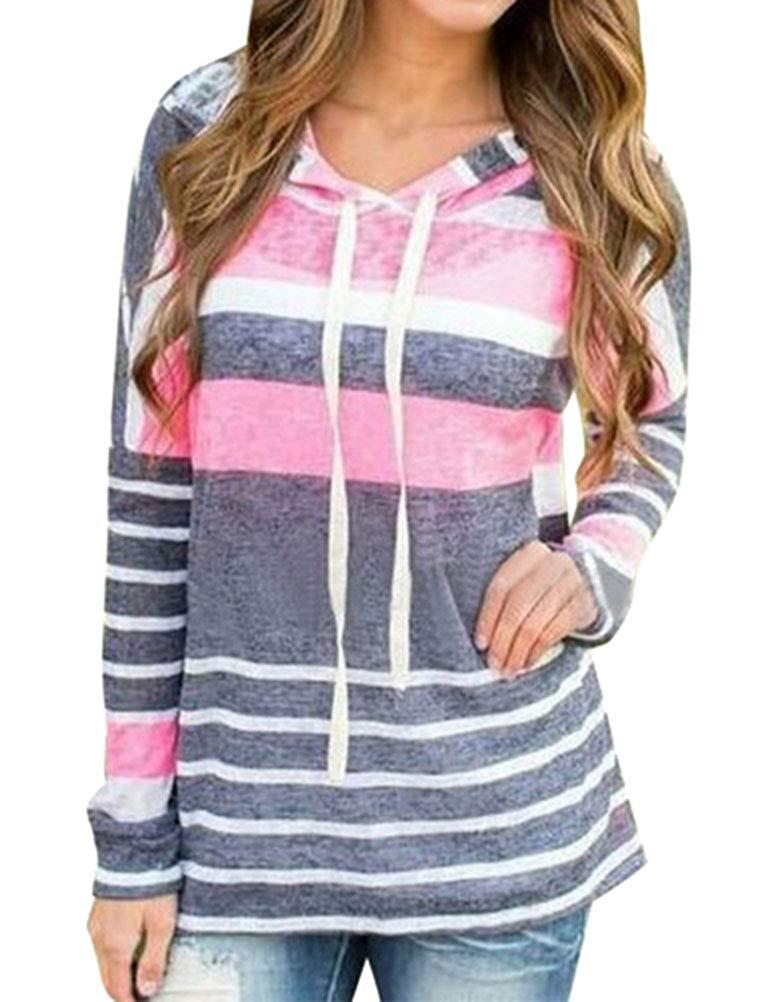 WLLW Women Pullover Drawstring Hoodie Long Sleeve Colorblock Striped Sweatshirts