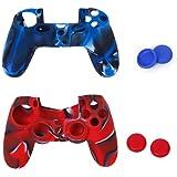 2pcs Etuis de Protection en Silicone + 2 Paires de Bouchons Capuchons de Joystick en Plastique pour Manette PS4 - Rouge Camo et Bleu Camo