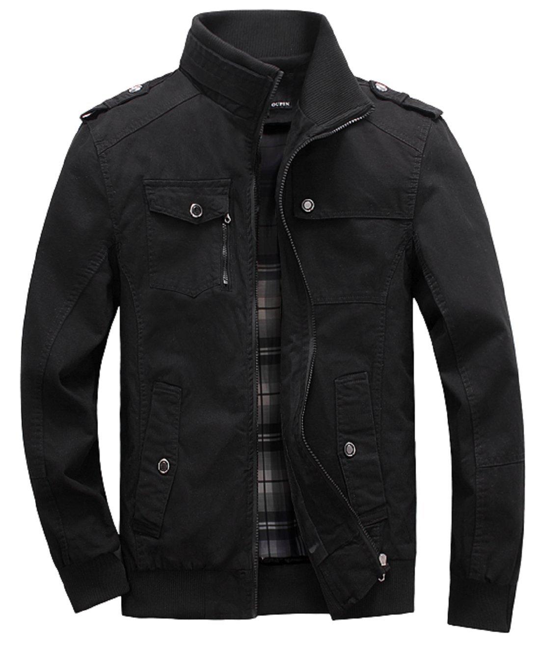 Lejckea Men's Muti-Pockets Cotton Stand Collar Jackets and Coats(L Size,Black) by Lejckea