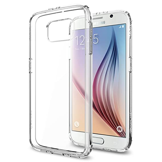 best cheap d3587 6bbab Galaxy S6 Case, Spigen [Ultra Hybrid] AIR CUSHION [Crystal Clear] - [1 Back  Protector Included] Scratch Resistant Bumper Case with Clear Back Panel ...