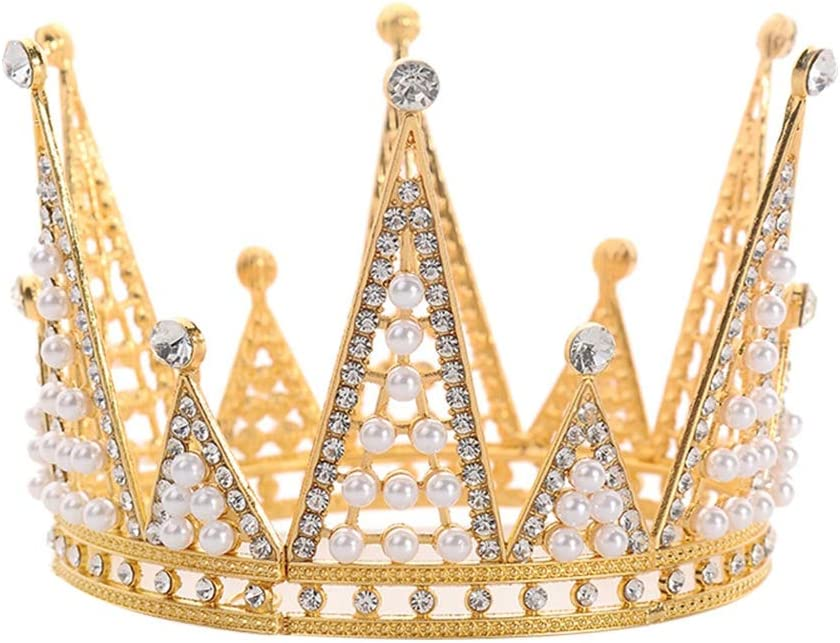 Toyvian Crown Cake Topper - Cake Decor with Rhinestones and Pearls for Birthdays, Weddings,Golden