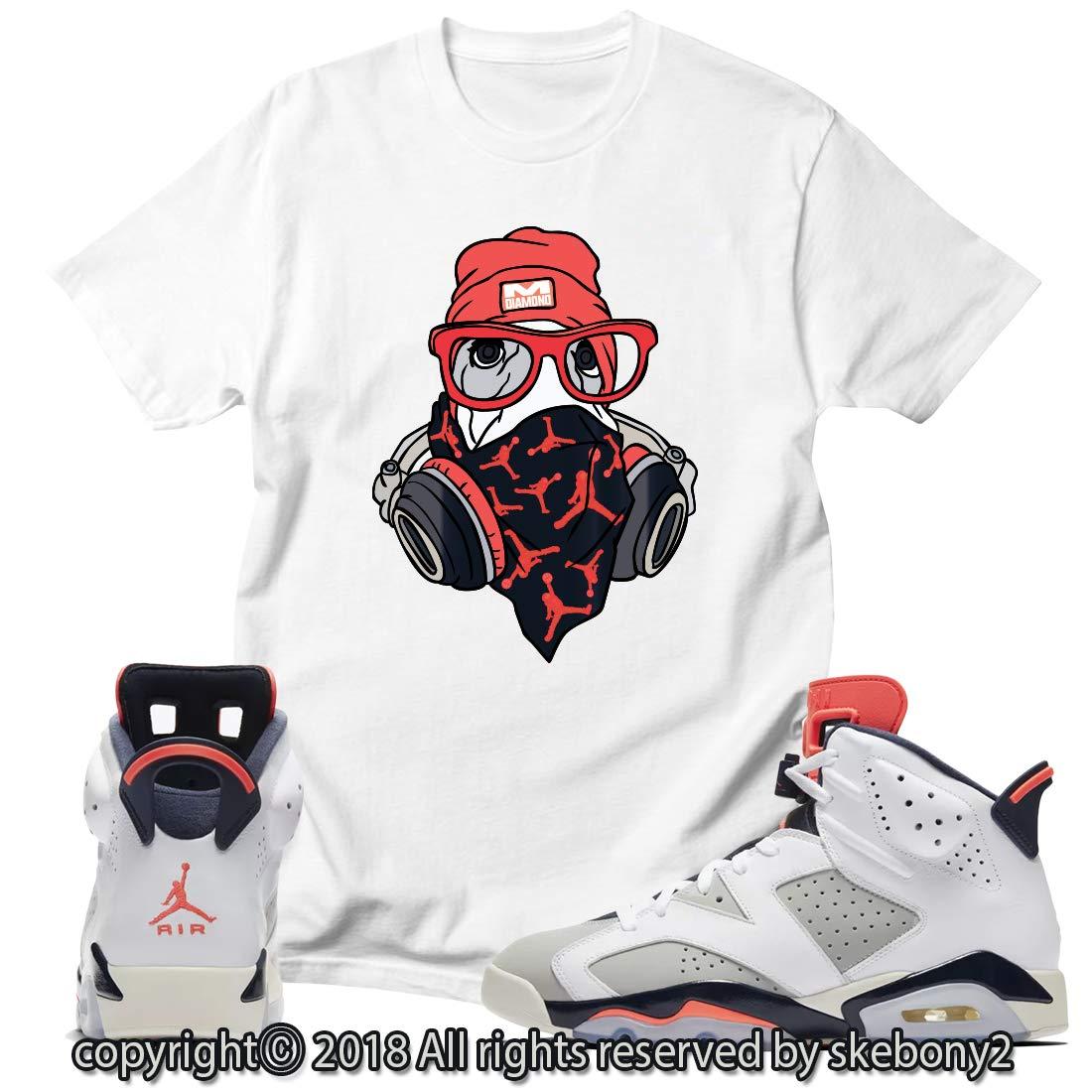 df6a9b11a3c Custom T Shirt Matching Style of AIR Jordan 6 Infrared Tinker JD 6-10-6 at  Amazon Men's Clothing store: