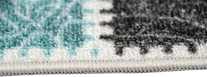 Traum Tappeto moderno kilim Gel Runner cucina cucina passatoia Karo modello Cream turchese grigio Gr/ö/ße 80x150 cm