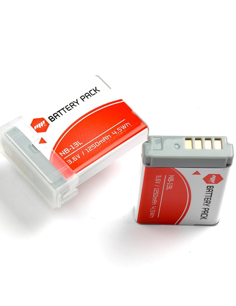 Chargeur Europe//US Adaptateur Allume-Cigare pour Canon Powershot Noir MP Extra NB-13L Pack 2 Batteries