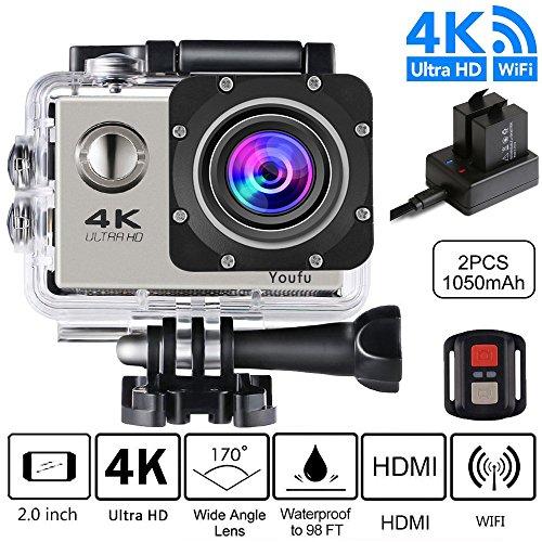 Action Camera, 4K Ultra HD 1080P WiFi Waterproof Mini Sport
