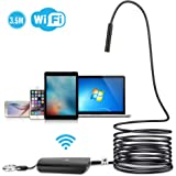 DBPOWER 2MP HD Wifi Endoscope Semi-rigid Cable 6 Adjustable Led IP67 Waterproof Wifi Borescope Inspection Snake Camera with Telescoping Handle for Android, iPhone, iPad, Samsung&Tablet(3.5M/11.5ft)