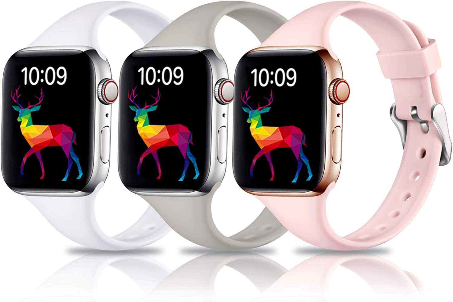 Laffav 3 Pack Slim Bands Compatible with Apple Watch 40mm 38mm for Women Men, Soft Silicone Narrow Thin Sport Replacement Strap for iWatch SE & Series 6 & Series 5 4 3 2 1