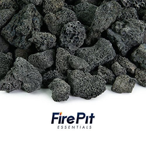 Black 3/4 Inch Lava Rock | Fireproof and Heatproof Volcanic Lava Rock, Perfect for Fire Pits, Fireplaces, BBQs and more. Indoor and Outdoor use - Natural Stones | 10 Pounds - Black Gas Fireplace