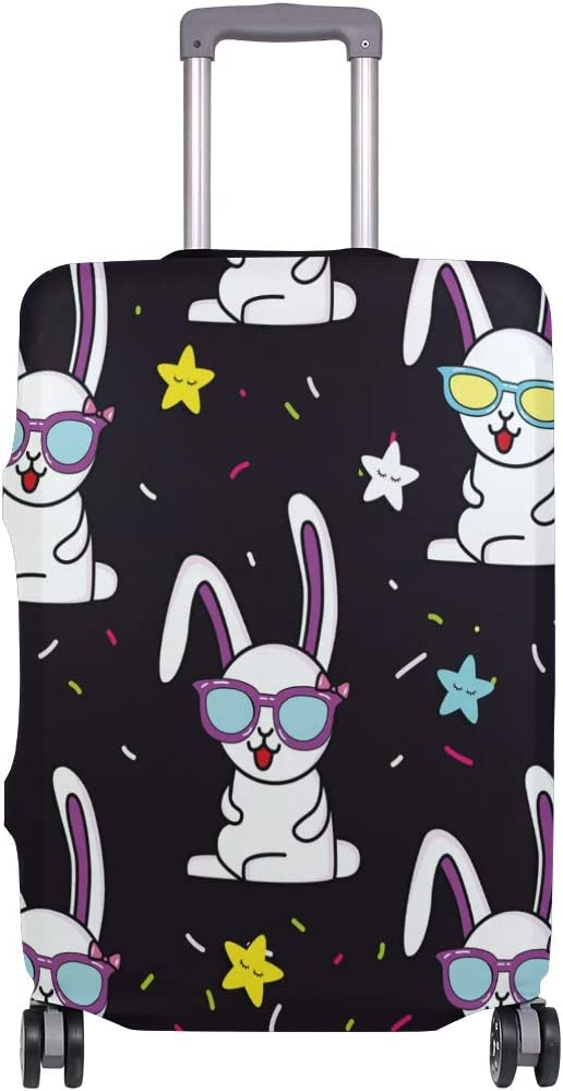 FOLPPLY Funny Rabbit Glasses Stars Pattern Luggage Cover Baggage Suitcase Travel Protector Fit for 18-32 Inch