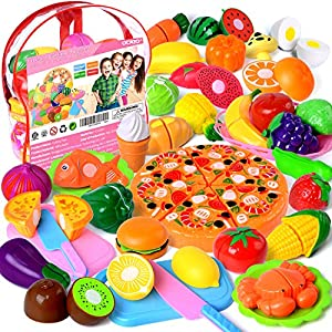 Cutting Toys, 73 PCS Play Cutting Food Kitchen Toy Cutting Fruits Vegetables Pretend Food Playset Early Development…