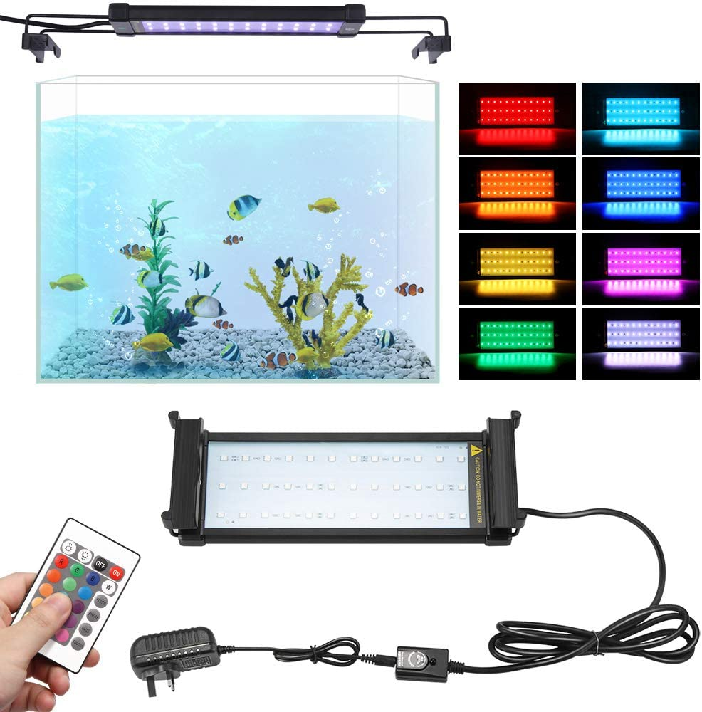 6W LED Fish Tank Light with Controller RGB Color Change Adjustable ...