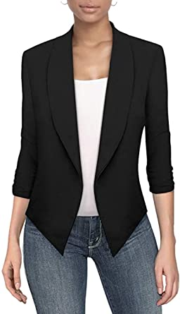 Hybrid /& Company Womens Casual Work Office Open Front Blazer Jacket Made in USA