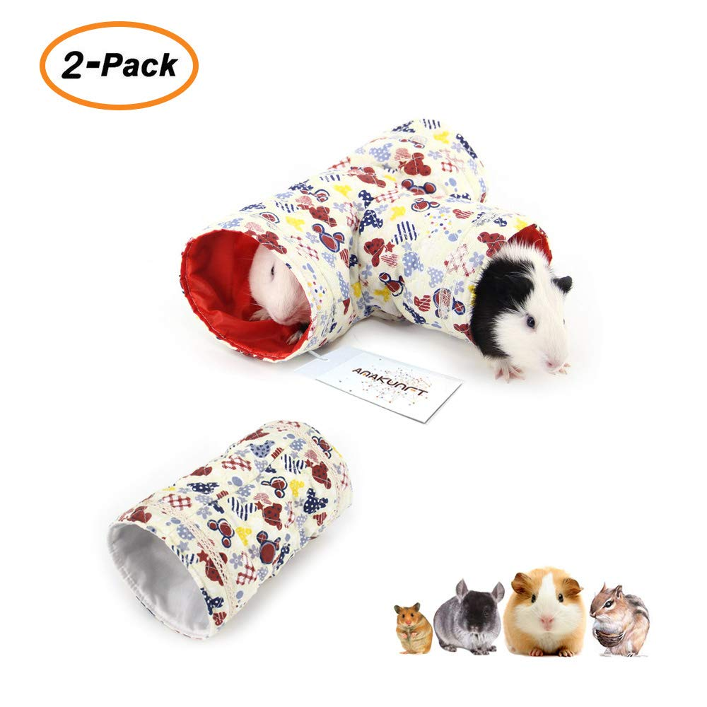 2 Pcs Small Animal Tube, Guinea Pig Hideaway Play Tunnel, Fun Pet Toy for Hamster, Chinchillas, Mice, Rats, Gerbil Rat, Squirrel, Hedgehog HL