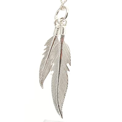 Solid Sterling Silver Native American 2 Eagle Spirit Feather Pendant Charm P047 Jcn4Wj71