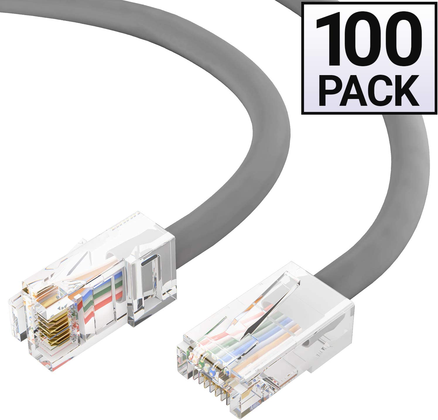 Available in 28 Lengths and 10 Colors Cat5e Plenum Ethernet Cable RJ45 10Gbps High Speed LAN Internet Cord 25 Feet - Gray Computer Network Cable with Bootless Connector CMP GOWOS 5-Pack