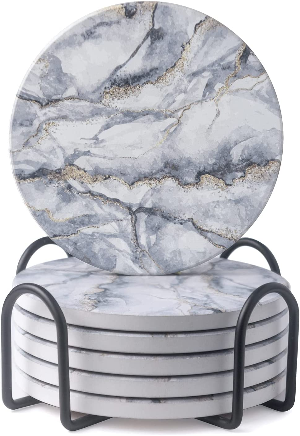 Higherz Absorbent Coasters For Drinks with Holder - Fancy Marble Ceramic Coasters for Tabletop protection, 4