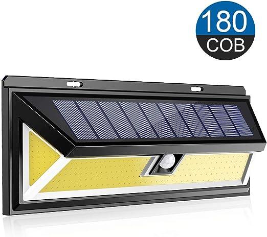ERAY Luz Solar Exterior, Foco Solar 180 COB 1800 Lúmenes con Sensor de Movimiento de 120° Gran Ángulo, IP65 Impermeable, 3 Modos Opcionales, Luz de Seguridad para Jardín, Patio, Terraza, Camino: Amazon.es: Jardín