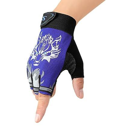 FakeFace Kinder Fingerhandschuhe Fahrradhandschuhe Sporthandschuhe Halbfinger Handschuhe Fingerlos Radfahren Handschuhe für C