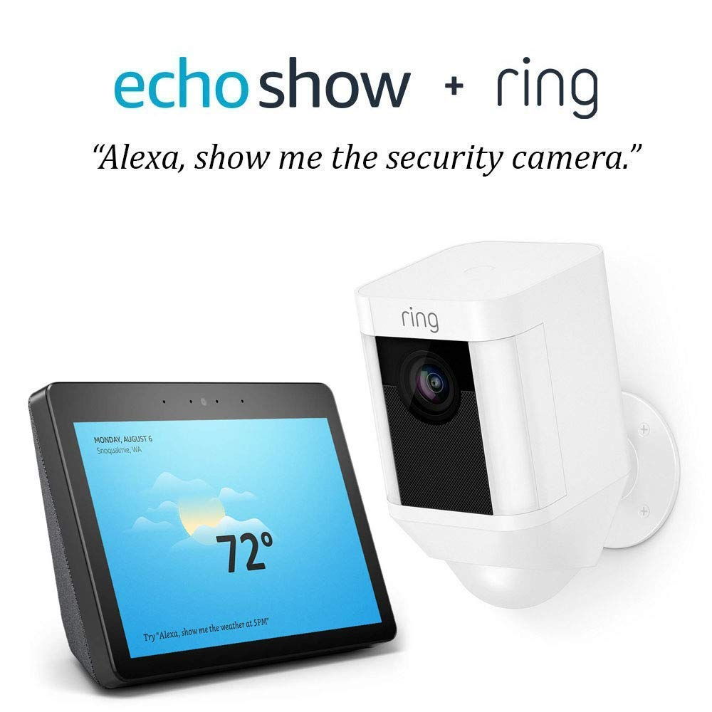 Ring Spotlight Cam Battery HD Security Camera with Built Two-Way Talk and a Siren Alarm - White with Echo Show (2nd Gen) - Charcoal