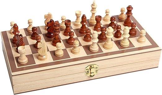 GuanJan Ajedrez Plegable de Madera Maciza Grande Juego de ajedrez ...