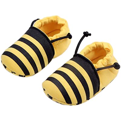 Bettyhome Cotton Unisex Baby Newborn Bee Pattern Soft Sole Infant Toddler Prewalker Sneakers (0-1 Year)