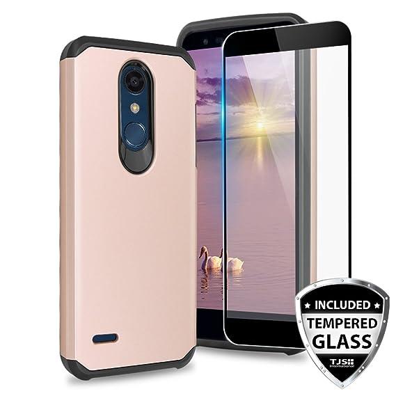 TJS LG K10 2018 / LG K30 / LG Premier Pro LTE/LG Harmony 2 / LG Phoenix  Plus Case [Tempered Glass Screen Protector] Dual Layer Hybrid Shockproof  Drop