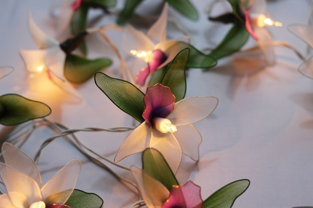 GaanZaLive36 Thai Handmade 20 Romantic Orchid Handmade Flower Fairy String Lights Patio Wedding Party Vanity Kid Wall Lamp Floral Home Decor 3m (Green White)